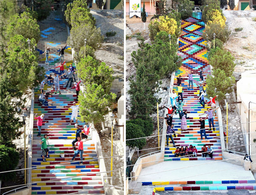syrian students paint the longest staircase in their town.jpg