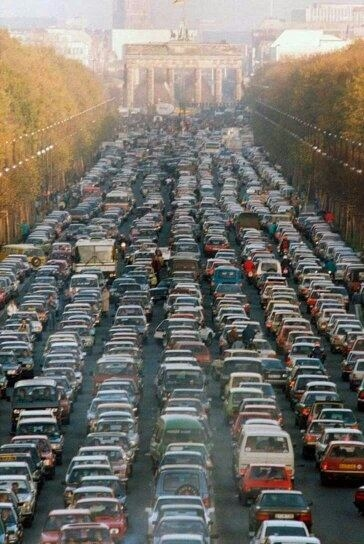 Traffic Jam near the Brandenburg Gate - 1989.