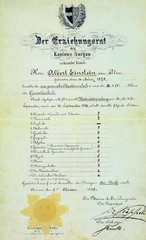 Albert Einstein's matriculation certificate
