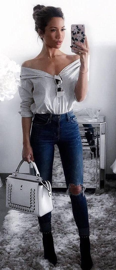 Jeans with a cute top and accessory