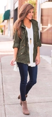 Green top fall outfit