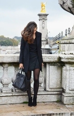 Women's Black Coat, Black V-neck Sweater, Black Quilted Mini Skirt, Black Suede Ankle Boots