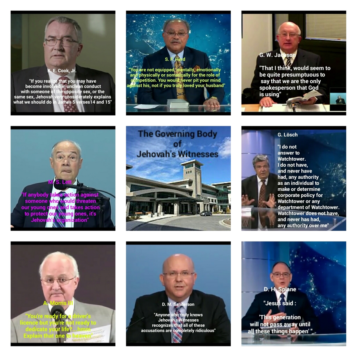 The Governing Body of Jehovah's Witnesses ~ in their own words