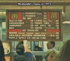 McDonald's menu in 1972