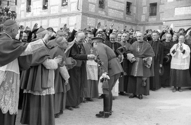 Spain: Dictator General Franco being honored by Catholic Clergy
