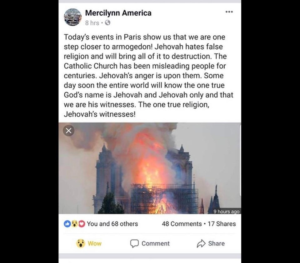 How one JW felt about Notre Dame Burning on Facebook