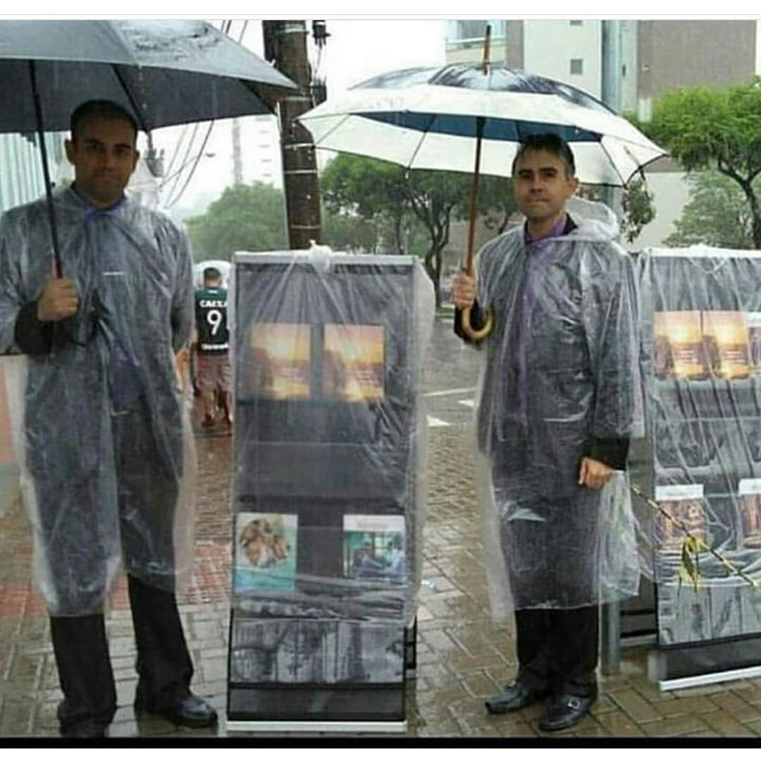 Preaching in the rain with literature carts