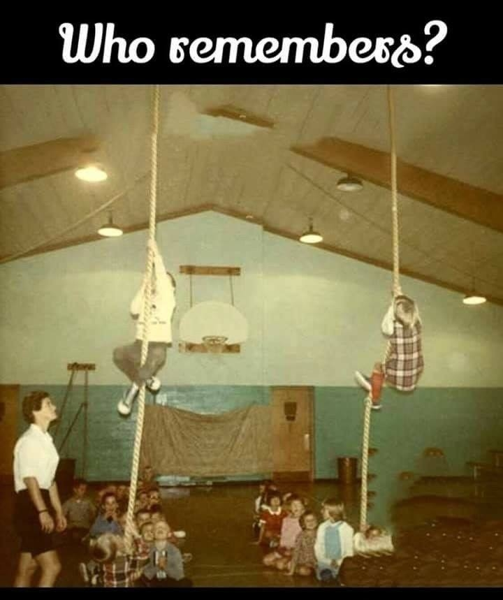 Rope climbing in gym class