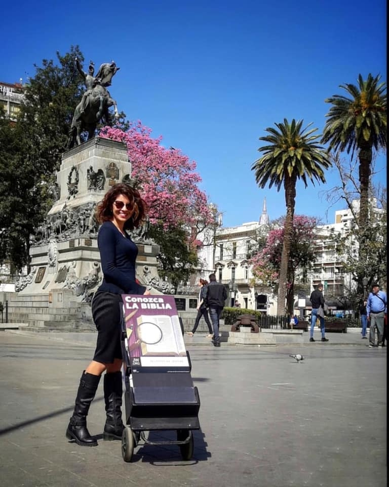 JW Sister in Argentina with her literature cart