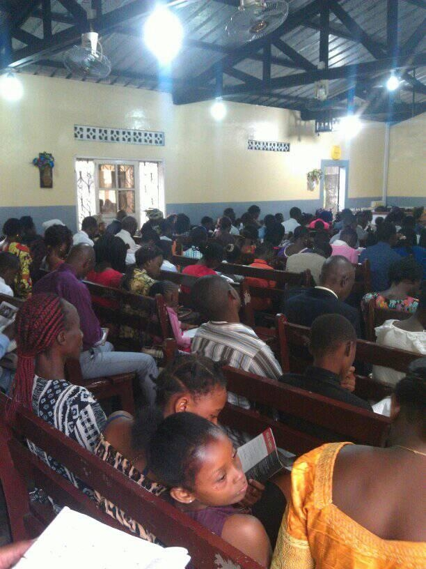 Crowded Kingdom Hall of Jehovah's Witnesses in Africa