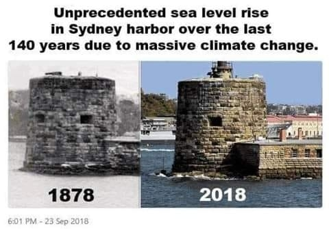 Unprecedented sea level rise in Sydney harbor over the last 140 years due to massive climate change!