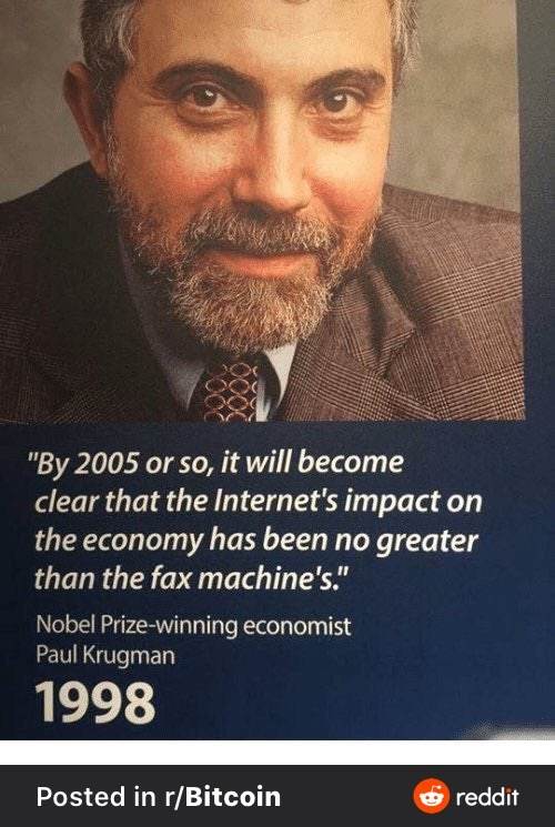 Paul Krugman has similar predictions for bitcoin